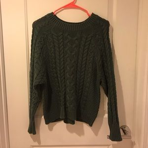 Aerie Green Cable-knit Sweater